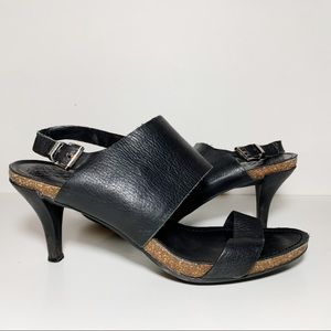 Vince Camuto Black Leather Cork Strappy High Heels